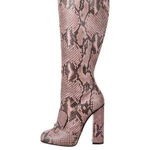 Gucci Lillian Snakeskin Knee-High Boots
